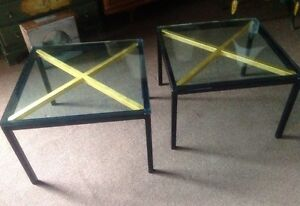 Pair Of Vintage Hollywood Regency Black Lacquered X Side End Tables