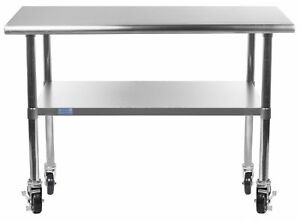 Amgood Stainless Steel Work Table With Undershelf Casters wheels New