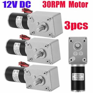 3x 12v Torque Turbine Electric Worm Gear Speed Reducer Dc Motor Micro 30rpm Kp