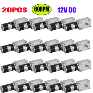 20x Miniature 12v 60rpm Dc Worm Geared Motor With Right Angle Gear Motor New Sz