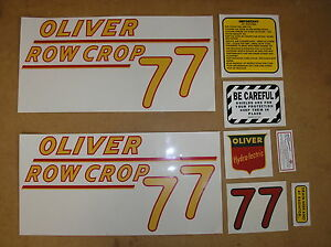 Oliver 77 Row Crop New Decal Set For Tractors 18 20 308
