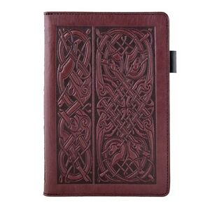 Celtic Hounds Oberon Design 6 x9 Small Wine Leather Portfolio Notepad Cover