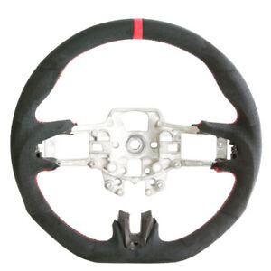 Flat Bottom Steering Wheel For 15 16 17 Ford Mustang Black Alcantara Red Stitch
