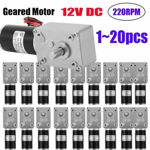 1 20pc Reversible Worm Geared Motor 12v 220rpm Turbine Gearmotor High Torque Lot