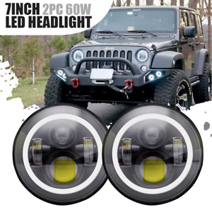 2x7 led Halo Angel Eyes Headlight 60w For Jeep Jk Tj Lj Cj