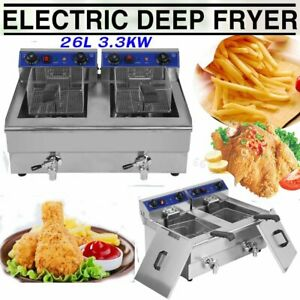 Electric Countertop Deep Fryer Dual Tank Commercial Restaurant Steel W Nozzle X