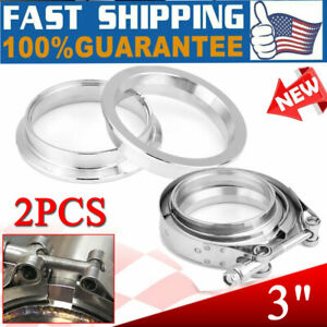 2 X 3 V Band Flange Clamp Kit For Turbo Exhaust Downpipes Stainless Steel