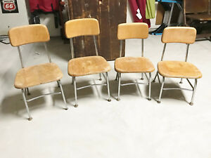 Set Of 4 Heywood Wakefield Wood School Chairs