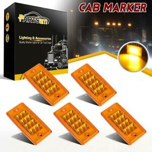 5xyellow 12 Led Cab Marker Roof Running Reflective Lights For Freightliner Volvo