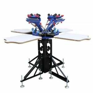 4 Color 4 Station Silk Screen Printing Kit Press Machine With Flash Dryer
