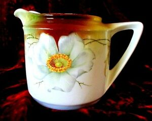 Vintage C 1900 Art Nouveau Wild Rose Pitcher By Crown China Germany