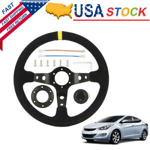 Universal Black Suede 13 8 Deep Dish Racing Sport Steering Wheel For Any Car Us