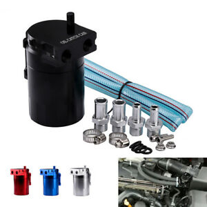 New Aluminum Baffled Oil Catch Can Tank Reservoir Breather Black With Fittings K