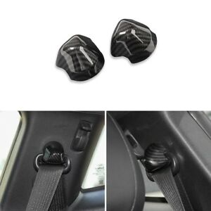 Pair Carbon Fiber Seats Safety Belt Button Cover Trim Frame For Ford Mustang 15