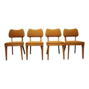Set Of 4 Mid Century Danish Modern Heywood Wakefield Champagne Dining Chairs