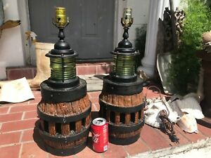 Nautical Wagon Wheel Hub Lamps Project Pieces Up Cycle Repurpose Vintage