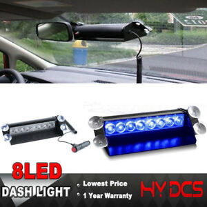 8 Led Car Truck Dash Strobe Light Emergency Police Warning 3 Flashing Modes Blue