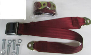 Wine Red 2 Point Vintage Wine Red Lap Seat Belts 2 With Mounting Kit 60