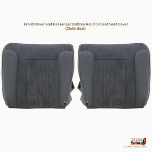 1994 To 1996 Dodge Ram Driver Passenger Bottoms Fabric Seat Cover Gray Piping