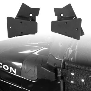 2x Off Road Mirror Mounting Brackets Matte Black For Jeep Wrangler Tj 97 06