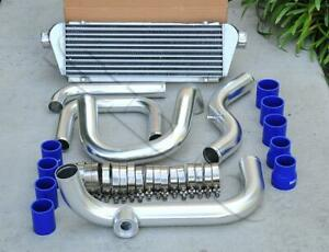 Chrome Piping Sqv ssqv Flange Intercooler Blue Coupler Kit For 92 00 Civic