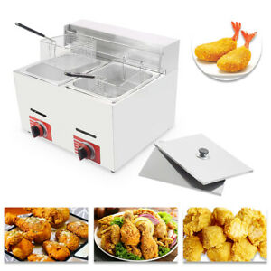 Commercial Countertop Gas Fryer 2 Baskets Gf 72 Propane lpg With Metal Tube
