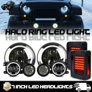 7 Inch Halo Led Headlight 4 Fog Turn Lamps For Jeep Wrangler Jk Combo Kit