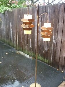 Danish Mid Century Modern Two Light Floor Lamp Teakwood Acrylic