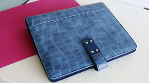 New classic desk 1 Ring Blue Sim Leather Croc Day timer Open Planner binder