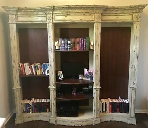 Vintage Antique Wooden Bookshelf Entertainment Center Book Case
