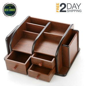 Wood Office Supplies Desk Organizer Rack 3 Drawers 3 Compartments 2 Shelves