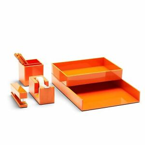 New Poppin All Set Desk Collection Orange 12 Pieces Set