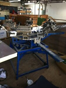 Hopkins Manual Screen Printing Machine 6 color 4 station With 1 Flash