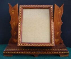 Vintage Wood Inlay Art Deco Waterfall Style Large Swivel Picture Frame
