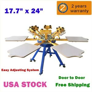 Silk Screen Printing Equipment 6 Color 6 Station T shirt Printer Carousel Usa