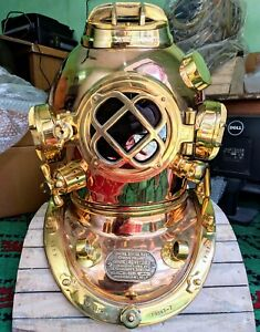 Brass Copper Us Royal Navy Antique Divers Helmet Scuba Diving Marine Deep Sea