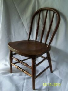 Antique Heywood Wakefield Child S Chair 24 1 2 Tall Solid Oak Late 1800 S