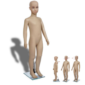 Children Size Mannequin With Armoured Glass Base Skin Tone Modeling Unisex Body