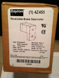Dayton Reversible Break Gearmotor 4z459 Rpm 98 Hp 1 100 Volts 115vac New