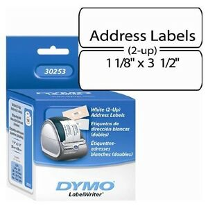 Dymo Labelwriter White 2 up Address Labels 1 1 8 X 3 1 2 700 Labels roll