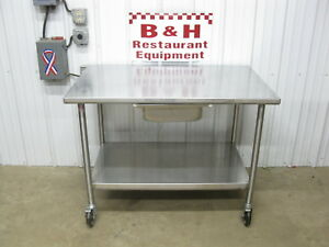 John Boos 48 X 30 Stainless Heavy Duty Work Table W Shelf Drawer Casters 4