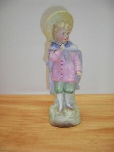 Vintage Porcelain Bisque Figurine Figure Sculpture Boy Victorian Edwardian
