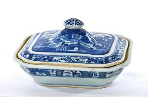 1900 S Chinese Export Canton Blue White Porcelain Covered Bowl Tureen