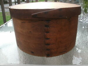 Great Antque Wooden Primitive Round Lidded Shaker Pantry Box Read Below
