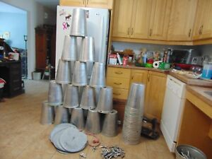 6 Maple Syrup Aluminium Sap Buckets Plus 6 Lids Covers Plus 6 Taps Spiles Spouts