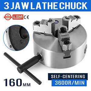 Self centering Lathe Chuck 3 Jaw 6 Inch For Milling K11 160a Hardened Steel