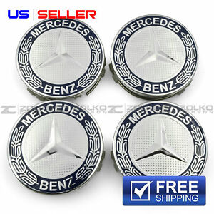 Wheel Center Caps Emblem Blue 75mm 4pc Set For Mercedes Benz Amg E10 Us Seller