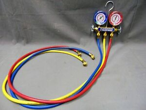 Series 41 2 Way Yellow Jacket 4 Valve Test And Charging Manifold 60 Hoses