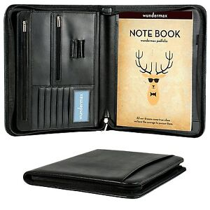 Leather Office Portfolio Organizer Business Slim Notepad Book Zippered Padfolio