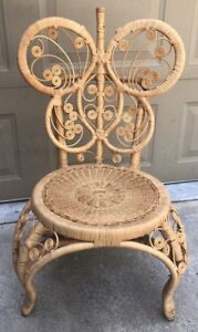 Vintage Rattan Wicker Wood Chair Hand Made 35 Tall Curly Detailing Lovely